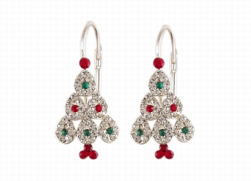 Lacy Christmas Tree Earrings