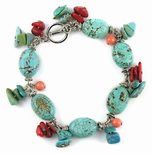 Smooth Turquoise Cluster Bracelet With Coral Charms