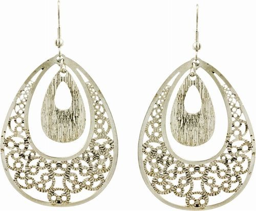Laser Cut Earrings, Silver Tear Drops