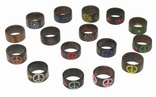 Tribal, Handpainted Wood Rings Display Refill