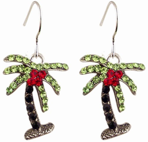 Palm Tree Earring Black/Green