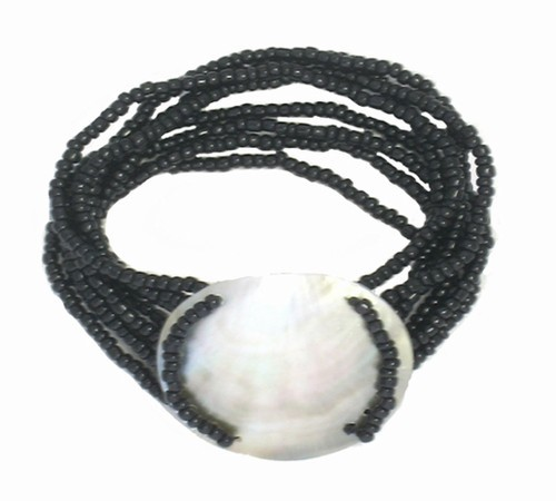 Shell Seed Bead Bracelet Black