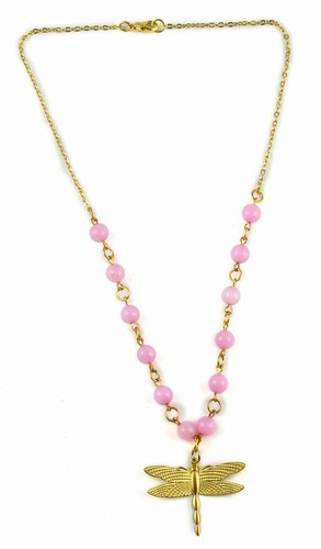 Pink Jade Bead Necklace With Gold Dragonfly