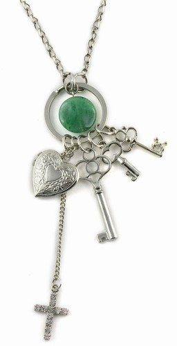 Key Cluster Long Silver Necklace With Jade