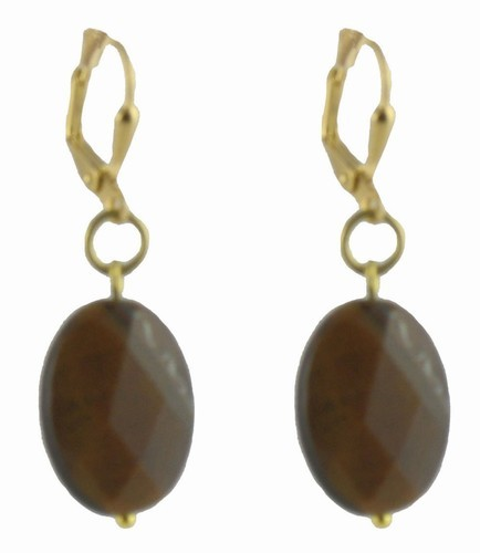 Tiger Quartz Gold Latchback Earrings