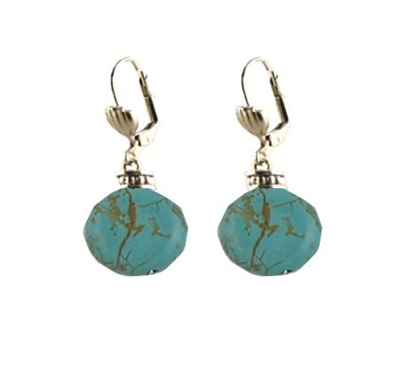 Turquoise Round Silver Latchback Earrings