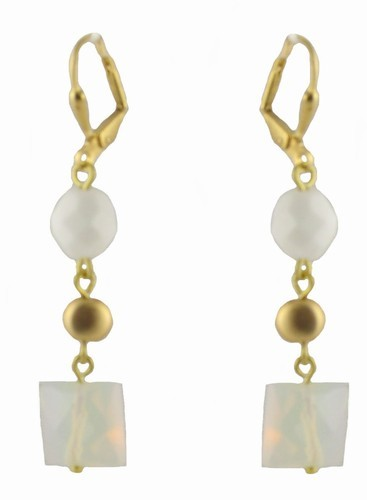 White & Milky Quartz Gold Latchback Earrings