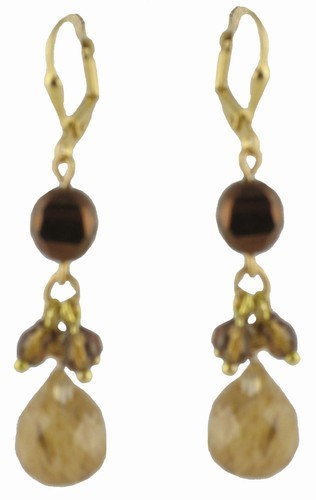 Brown Crystal & Topaz Teardrop Latchback Earrings