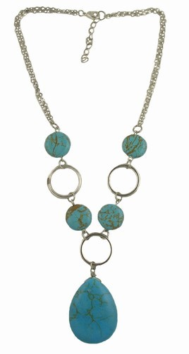 Turquoise Teardrop Pendant Link Necklace
