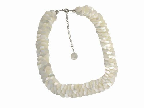 Mother of Pearl Overlay Necklace, White