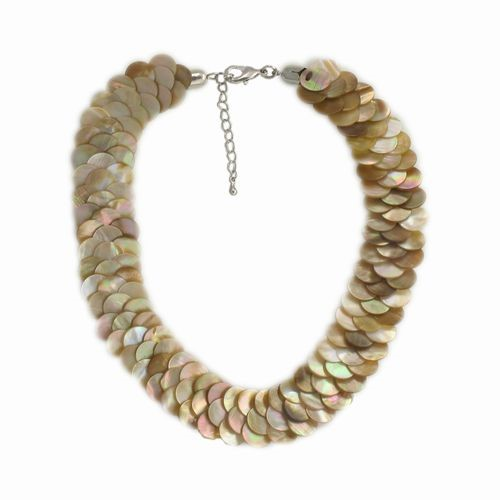 Mother of Pearl Overlay Necklace, Natural