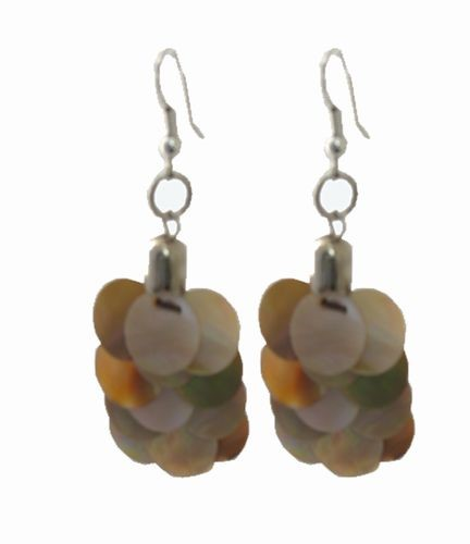 Mother of Pearl Overlay Earrings, Natural