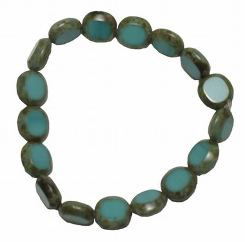 Turquoise Czech Glass Stretchy Bracelet