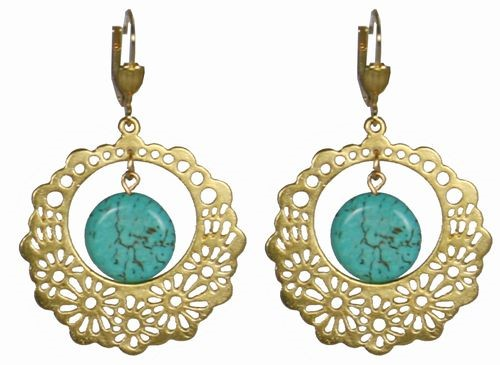 Turquoise and Flower Medallion Earrings