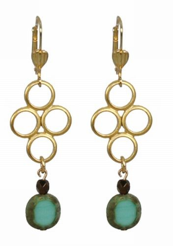 Czech Glass Four Circle Earrings