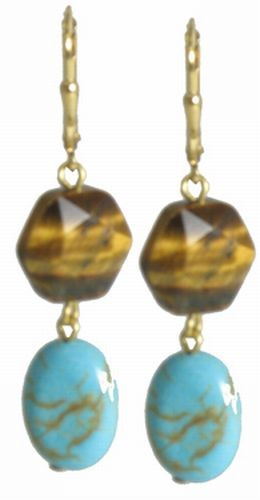 Turquoise/Tiger's Eye Silver Earrings