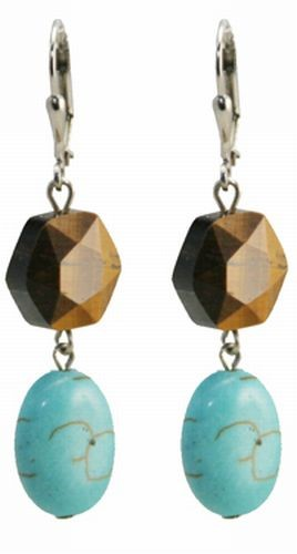 Turquoise/Tiger's Eye Gold Earrings