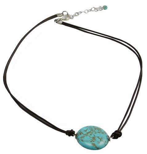 Turquoise Bead Necklace with Leather Cord