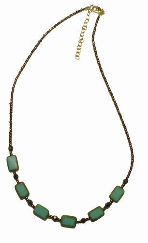 Turquoise Czech Glass & Jasper Beads Necklace