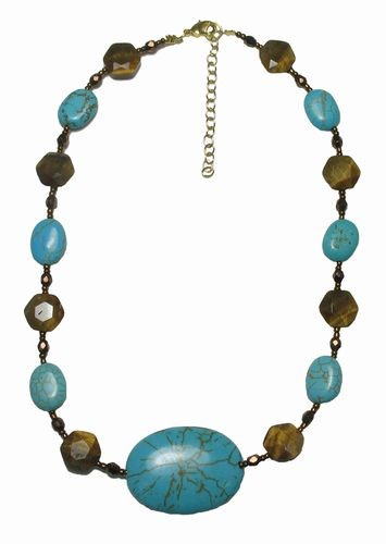 Turquoise/Tiger's Eye/Jasper Necklace