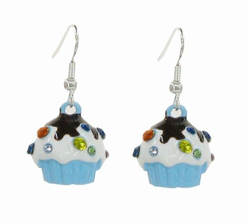 Cupcake Earrings Blue
