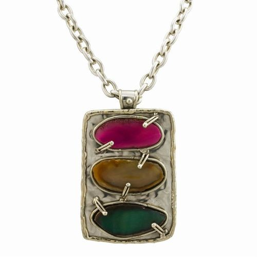Semi-Precious, Tri-Stone Necklace