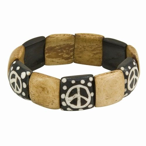 Bone Peace Sign Bracelet