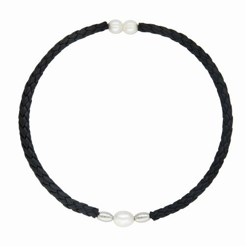 White Pearl & Black Leather Choker