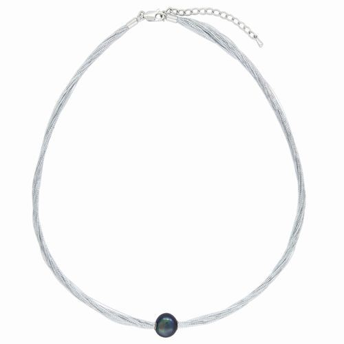 Grey Pearl on Silver Necklace