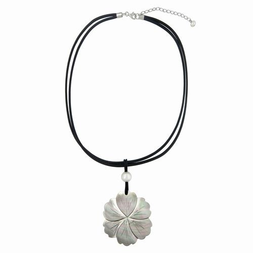 Grey Carved Shell Flower Pendant Necklace