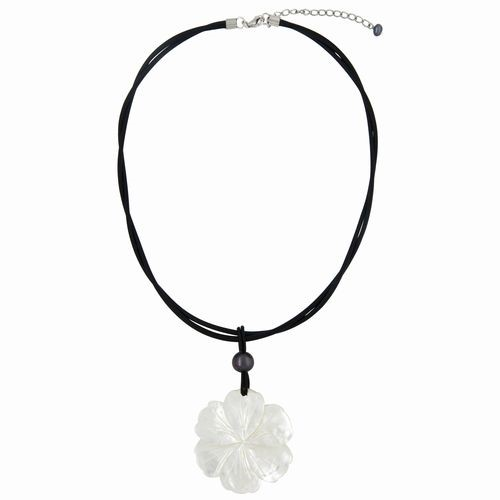White Carved Shell Flower Pendant Necklace