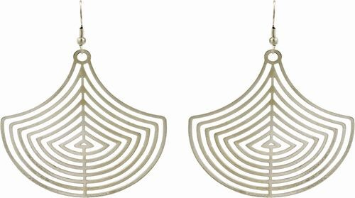 Laser Cut Earrings, Silver Fans