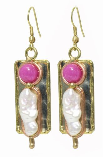 Semi-Precious, Earrings Pink Stone & Pearl