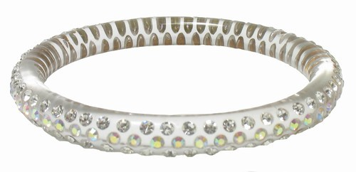 Medium Acrylic Bangle Bracelet with Crystals