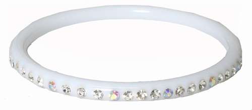 Thin Acrylic Bangle Bracelet with Crystals