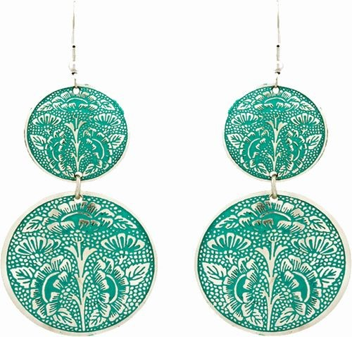 Enameled Earrings, 2 Circle Drops Gr/Sil