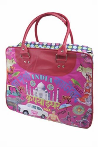 Coated Cotton Indian Kitsch Travel Bag