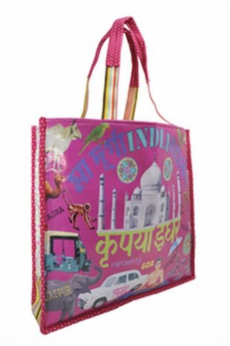 Coated Cotton Indian Kitsch Shopping Bag