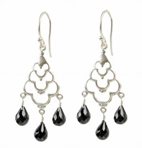 Crystal Drop Earrings, Black