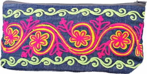 Embroidered Zip Clutch Bag, Denim