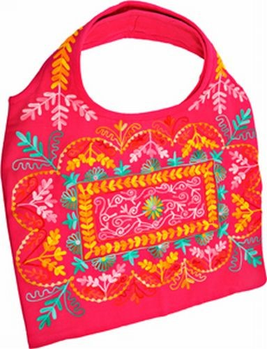 Embroidered Shoulder Bag, Pink