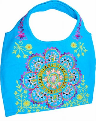 Embroidered Shoulder Bag, Turquoise
