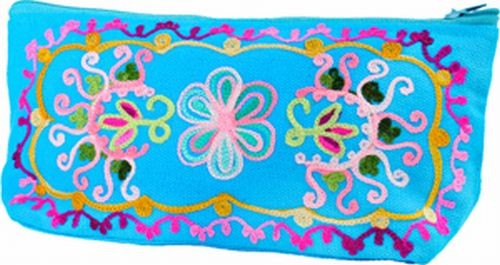 Embroidered Zip Clutch Bag, Turquoise