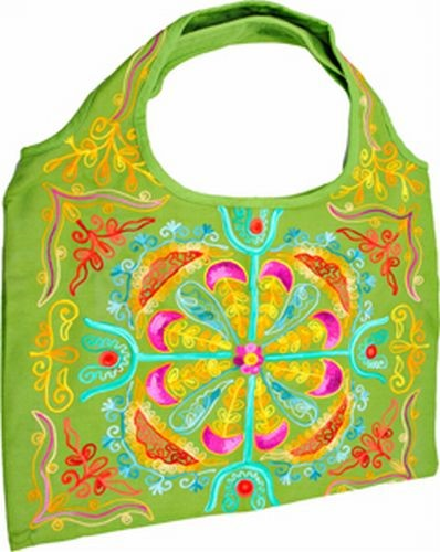 Embroidered Shoulder Bag, Lime