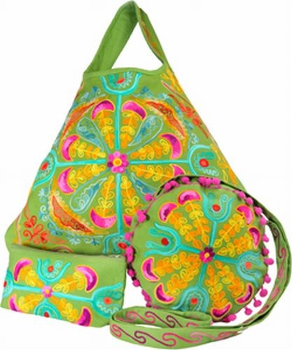 Embroidered Girly Bag, Lime