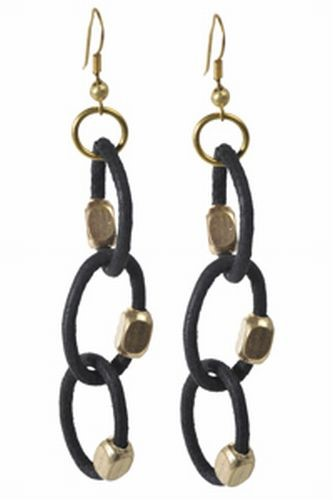 Leather Link, Black Earrings