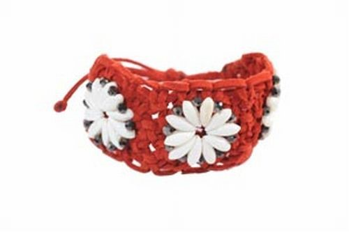 Macrame, Shell & Crystal Bracelet, Red