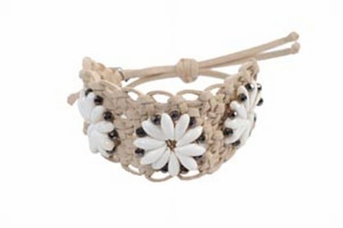 Macrame, Shell & Crystal Bracelet, Natural