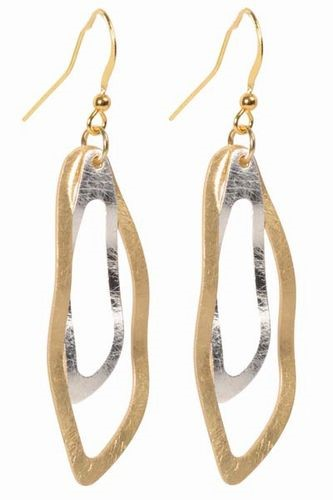 2 Tone Double Abstract Earrings