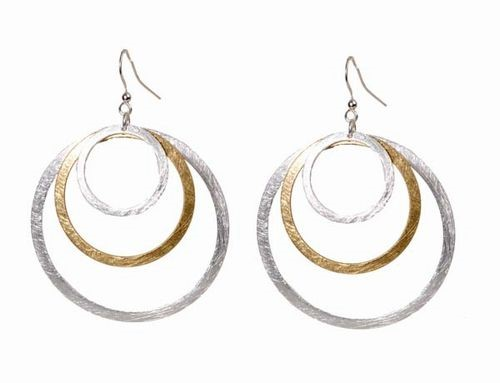 2 Tone Triple Hoop Earrings